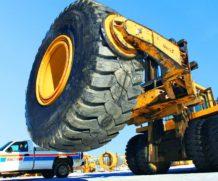 Reparação de um pneu gigante de 30.000 dólares