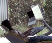 Esta mesa futurista permite que você trabalhe deitado