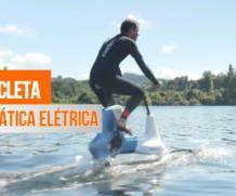 Bicicleta elétrica permite pedalar sobre as águas